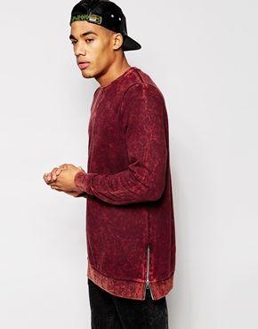 ASOS Longline Sweatshirt With Acid Wash And Side Zips