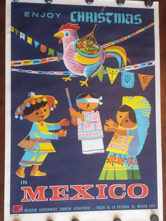 """Original Vintage Mexico Poster Enjoy Christmas In Mexico Kids with Piñata by Mexican Government Tourism Department Travel 26""""x38"""""""