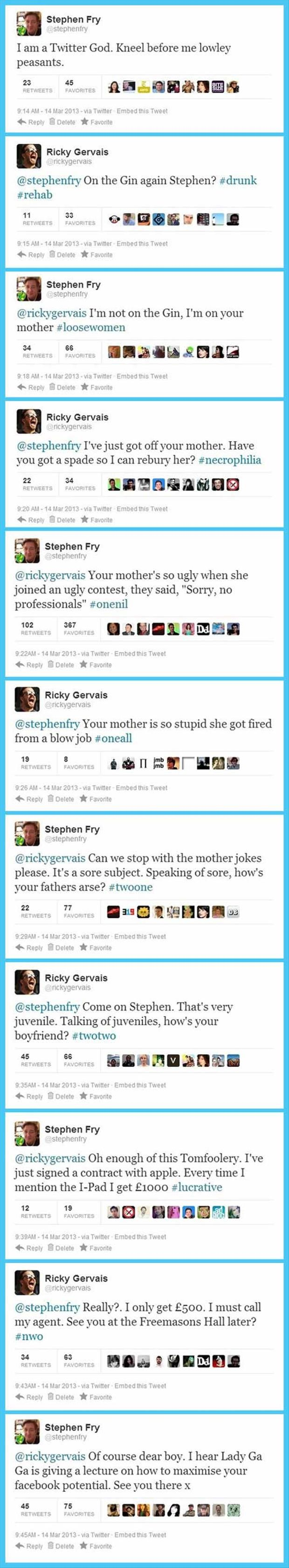 Stephen Fry and Ricky Gervais on Twitter. Anyone else read this in their voices?