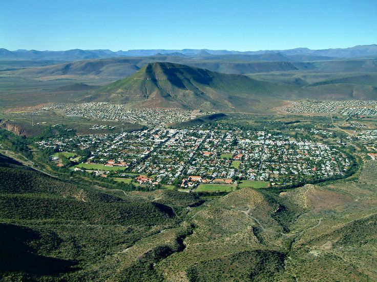 A view of Graaff Reinet, South Africa from the valley of desolation.