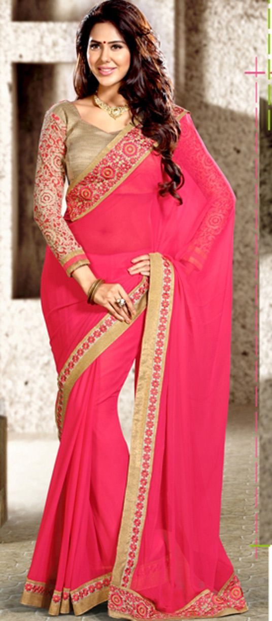 USD 56.34 Pink Georgette Party Wear Saree 44127