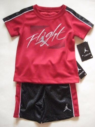 NIKE-JORDAN-Flight-Red-Black-Elephant-Print-2pc-Infant-Baby-Boy-Shirt-Shorts-24M
