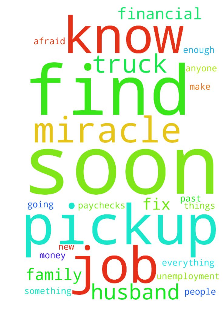 Miracle -   	Please pray for my family! My husband lost his pipeline job on Oct 1 and do to Pennsylvania changing their laws regarding unemployment, he know longer qualifies. �We have tried to make some money by hauling things for people with our pickup truck and trailer, but our pickup truck has been having transmission problems and we are not making enough to fix it .�    	Please pray that my husband finds a new job soon !!! I'm afraid if he doesn't find something soon , we are going to…