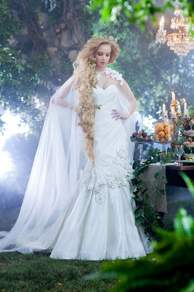 Alfred Angelo Style Rapunzel Inspired Wedding Dress With Net Cape And Matching Flowers Beading