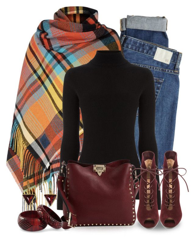 """""""Plaid"""" by terry-tlc ❤ liked on Polyvore featuring AG Adriano Goldschmied, Warehouse, Valentino, Gianvito Rossi, NOVICA and Kothari"""