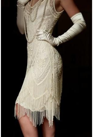 1920's Vintage Flapper Beaded Fringe Gatsby Wedding Bridal Gown – Cut Out Back – The Icon – Bone