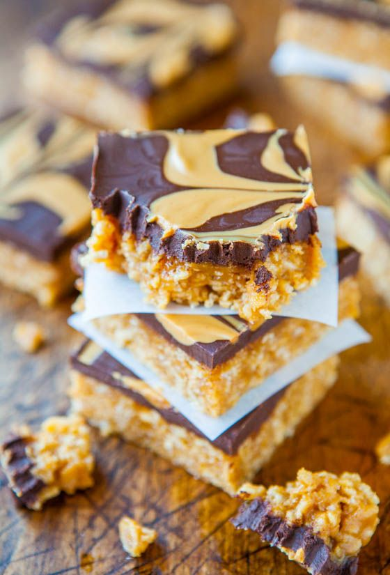 Chewy Peanut Butter and Chocolate Cereal Bars (vegan, gluten-free)