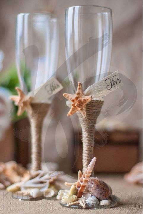 Personalised beach wedding toasting glasses