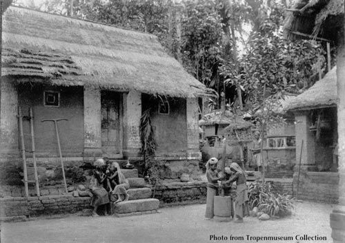 A Balinese home in a traditional family compound, probably around 1930s.