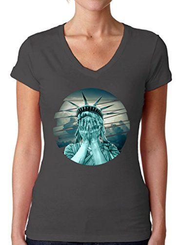 Awkward Styles Womens Statue of Liberty The Crying Lady Graphic V-neck T shirt Tops - Sorry But F U