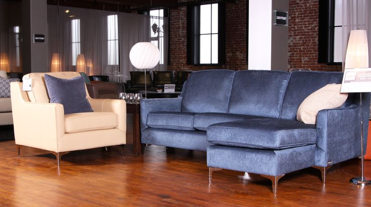 Talbot chair with nusilk navy fabric sectional. Great Duo by Jaymar