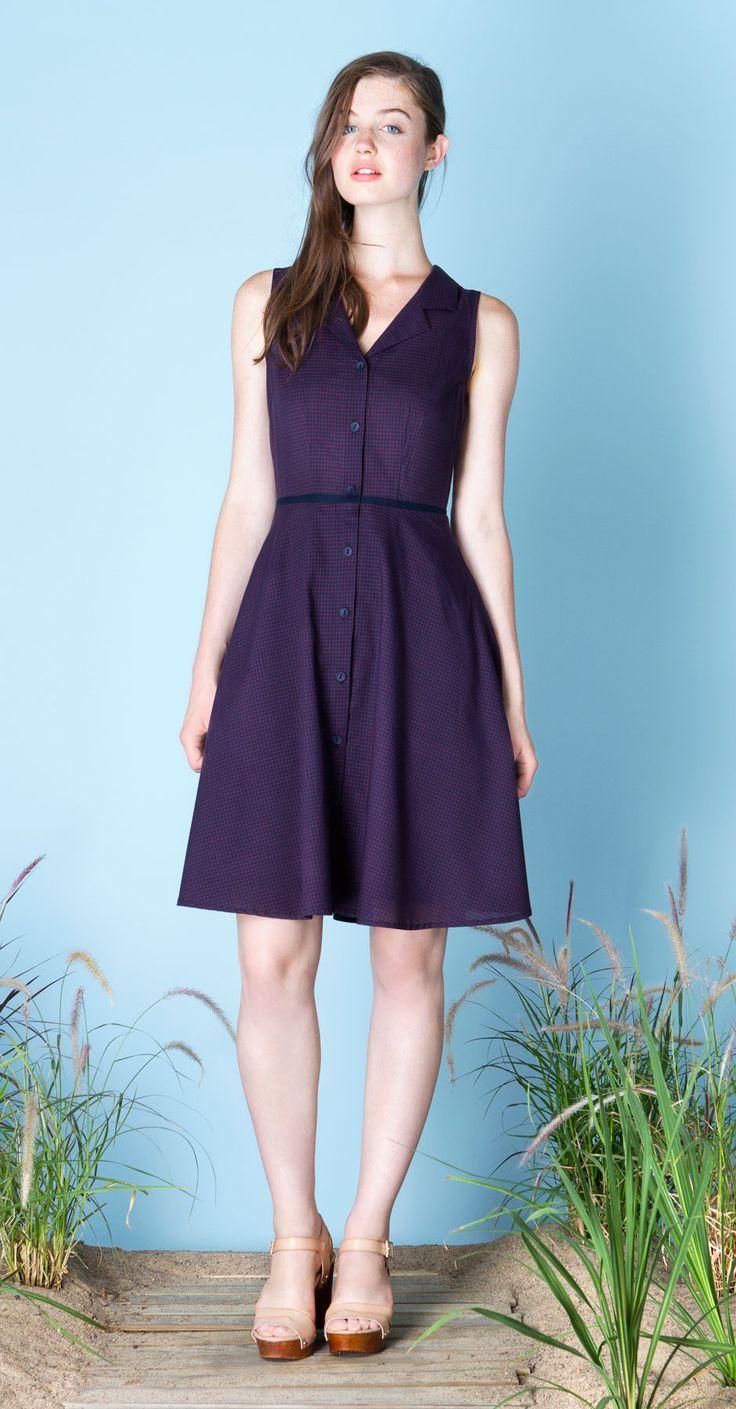 IRENE Navy/Red : Sleeveless, checked pattern shirt dress