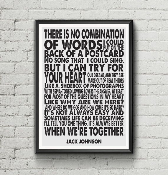 Jack Johnson - Better Together - Lyric Art Typography music Print Poster A4 & A3