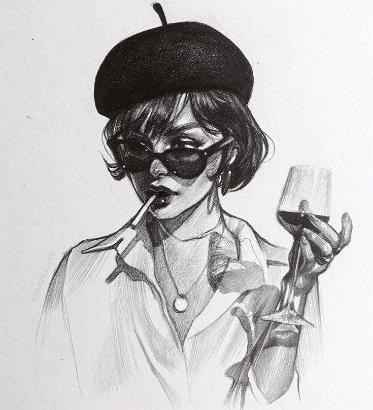 Картинки девушек с сигаретой арт