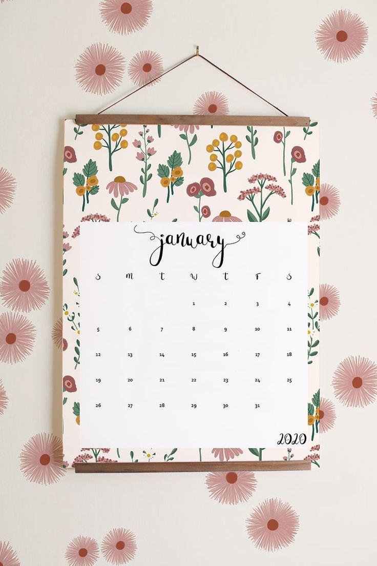 2020 Printable calendar (in English, Spanish & French