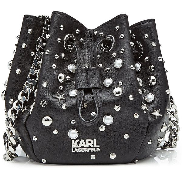 Karl Lagerfeld Studded Leather Drawstring Bag ($369) ❤ liked on Polyvore featuring bags, handbags, shoulder bags, black, karl lagerfeld handbags, studded handbags, genuine leather purse, dome purse and dome handbags