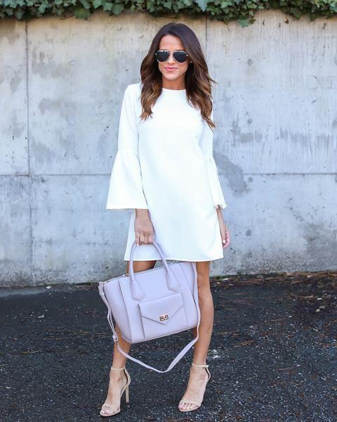 Just Believe Bell Sleeve Dress - White