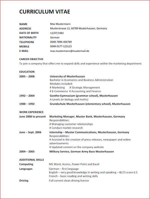 13 Primary Muster Lebenslauf Englisch Bilder In 2020 Curriculum Vitae Curriculum The Marketing