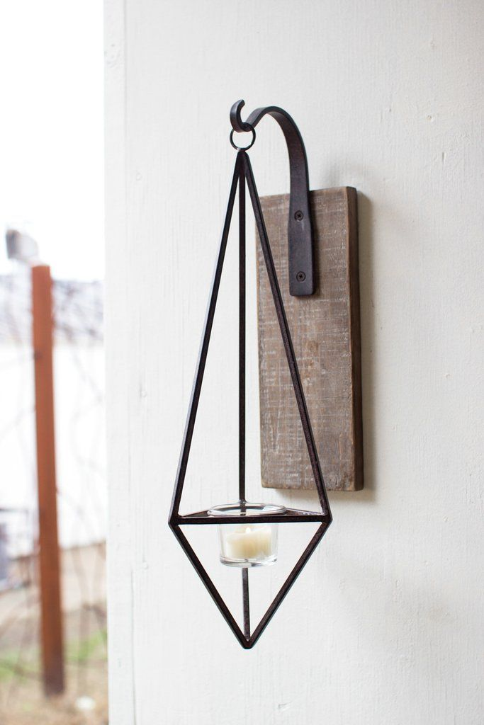 Kalalou Hanging Metal Diamond Wall Candle Sconce