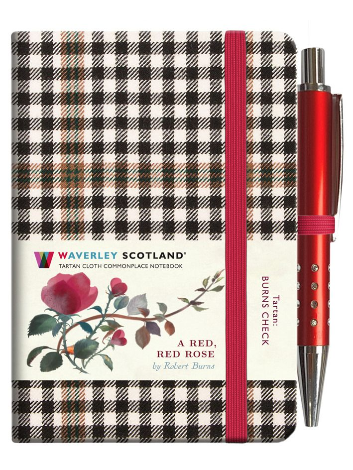 A Red Red Rose Tartan Clothbound Notebook By Waverley Scotland Mini Format With Pen Hardback Notebook Red Roses Tartan