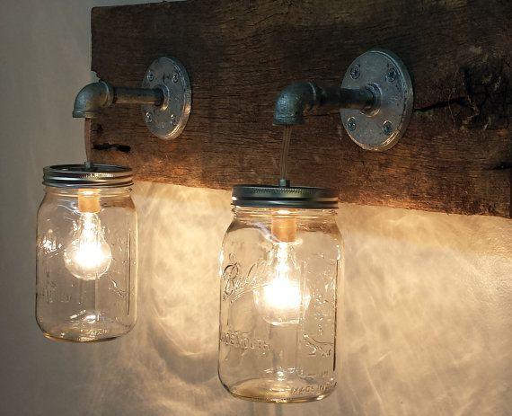 Mason Jar 2 light fixture Rustic Reclaimed Barn Wood Mason Jar Hanging Light Fixture Industrial Made in America Primitive Bathroom Vanity
