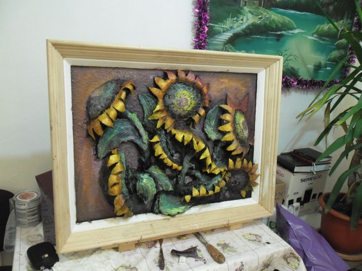 Crowded sunflowers painting. Not finished here.