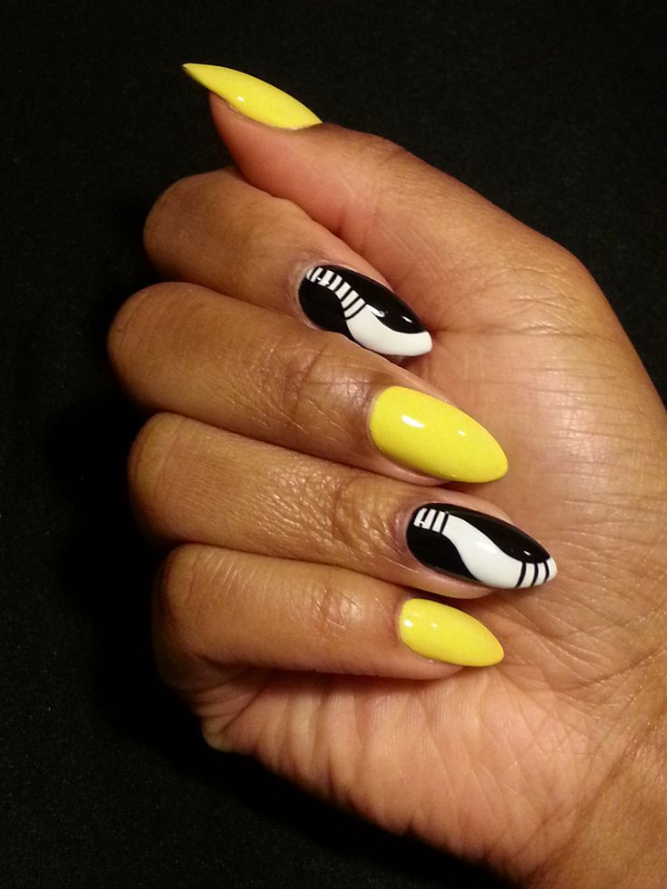 Yellow And Black Long Nails Are Sophisticated And Pretty Yellow Nails Design Yellow Nails