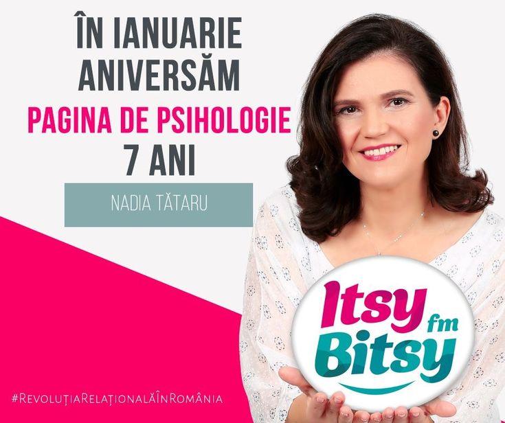 """""""La mulți ani, cu multe aha-uri în rândul cititorilor! Itsy Bisty FM felicită PaginadePsihologie.ro pentru munca de destupare de minți și fragezire de inimi, făcută până acum, în cei 7 ani de activitate. Să trăiți, că ne folosiți!"""" Nadia Tătaru, Radio Itsy Bitsy #ȘapteAni"""
