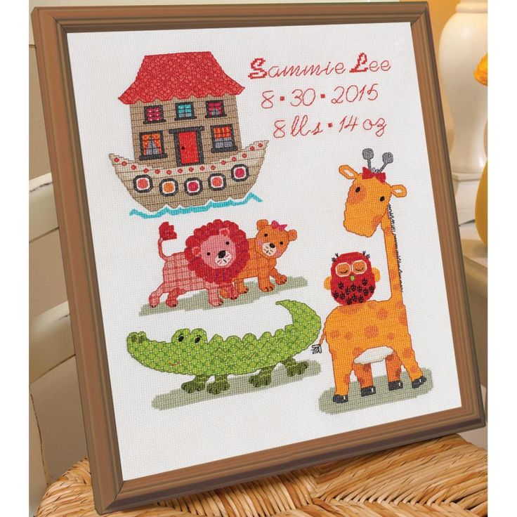 "Two By Two Birth Record Counted Cross Stitch Kit-10""X13"" 14 Count"