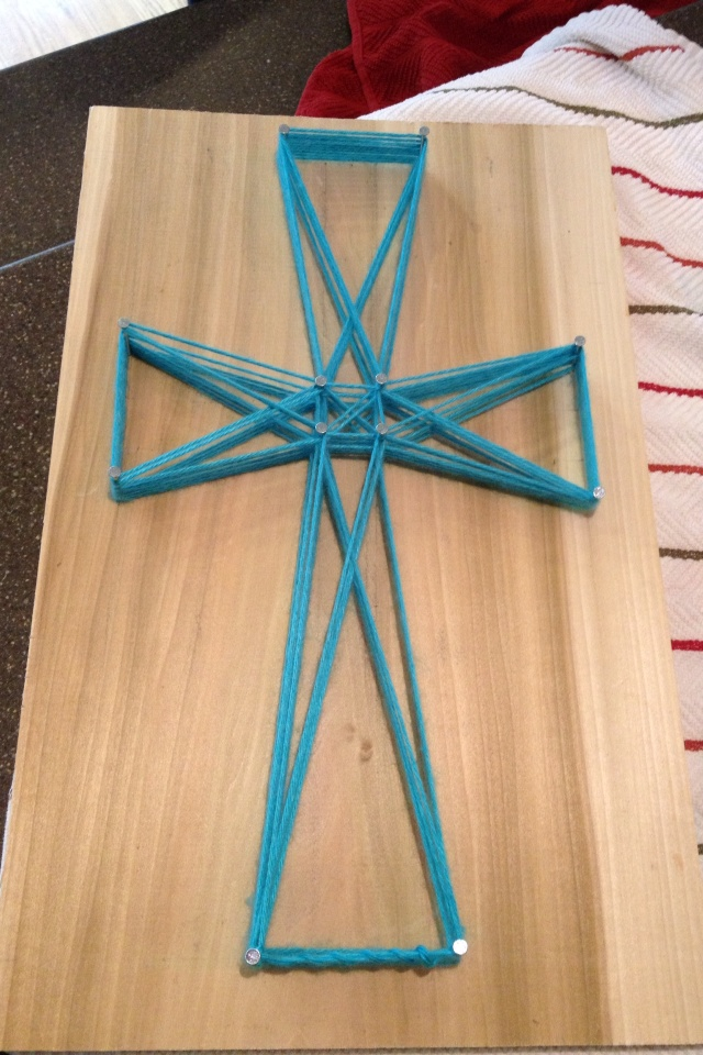 Cross string art @Tammy Kelly for camp this year