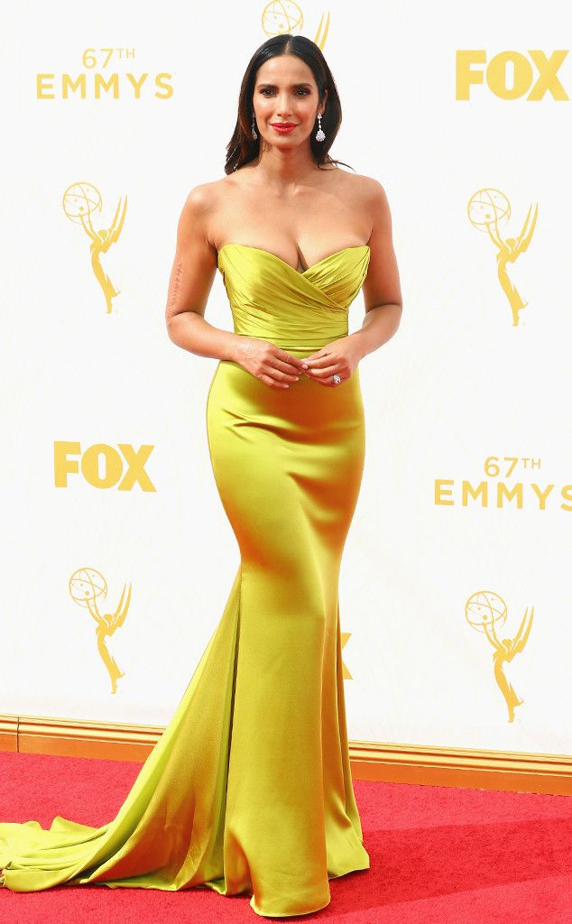 Padma Lakshmi from 2015 Emmys: Red Carpet Arrivals  In Romona Keveza with Fred Leighton jewelry