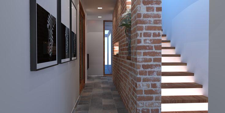 Staircase and thermal mass brick wall