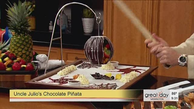 Uncle Julio's Ron Vasquez explains how to make the restaurant's signature chocolate pinata filled with fruit and churros.