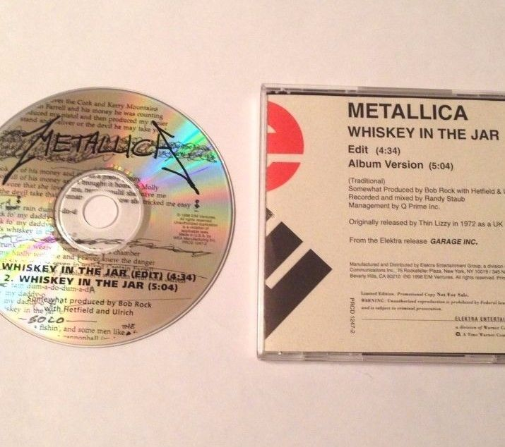 RARE METALLICA PROMO CD Single 1998 WHISKEY IN THE JAR Limited EDITION Radio USA #HardRock