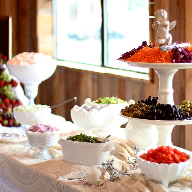 Food table in white dishes