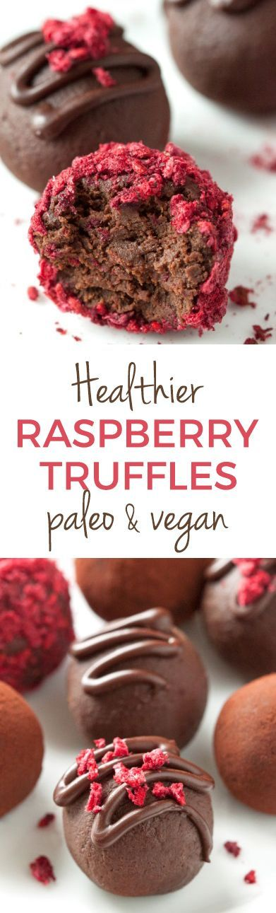 Healthier Raspberry Truffles with only four ingredients! Paleo and vegan options and naturally grain-free and gluten-free.
