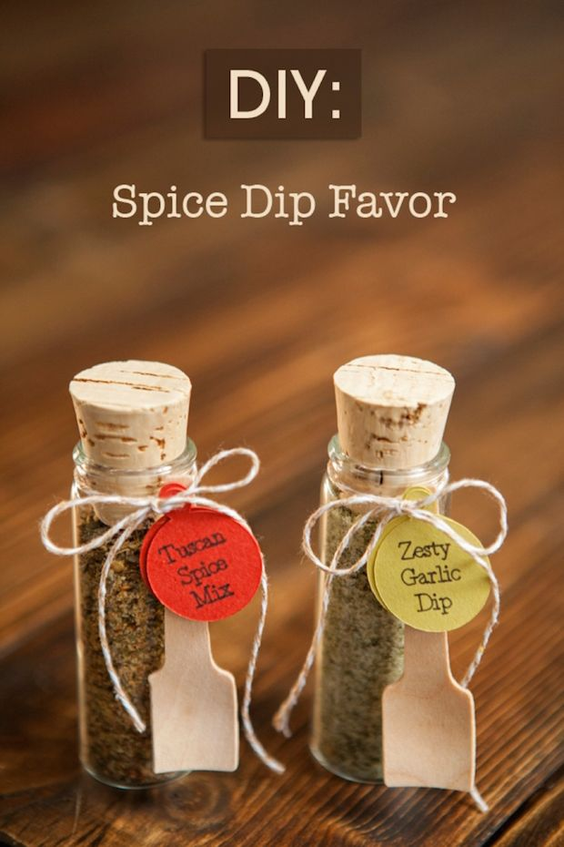 Six Last-Minute DIY Holiday Gifts for Christmas or Any Time — Eatwell 101 - Spice Dip Favors, Glittered Wooden Spoons, Rosemary Garlic Olive Oil, Homemade Hot Chocolate Mix, Painted Polka Dot Tea Towel, DIY Vanilla Salt and Vanilla Extract