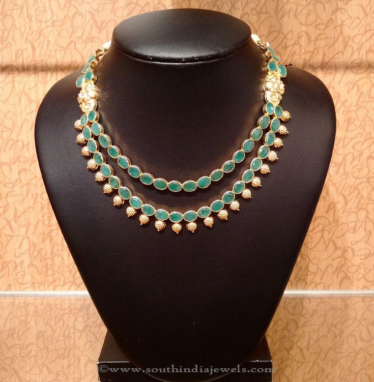 Gold Emerald Necklace Designs, Gold Emerald Necklace Collections, Gold Emerald Necklace Models.