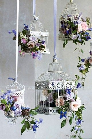 From left - Round birdcage, £2.95; square birdcage with bird, £4.95; both to hire, Wedding Day Hire. Large square birdcage, £24.95, Melody Maison. Round birdcage, £2.95 to hire, Wedding Day Hire. Ribbon, £1.20 per metre, VV Rouleaux. Birdcages filled with clematis, David Austin Juliet roses, muscari, jasmine, spray roses, anemones, sweet peas and hyacinths, from £55, By Appointment Only Design