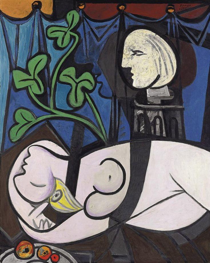 Desnudo, hojas verdes y busto es una pintura de Pablo Picasso de 1932 en la que retrató a su amante Marie-Thérèse Walter. La obra fue parte de la colección de arte de Sidney y Frances Brody, de Los Ángeles, desde la década de 1950 hasta 2010. Artista: Pablo Picasso Tamaño: 1,63 m x 1,30 m Período: Cubismo Técnica: Pintura al aceite Fecha de creación: 1932