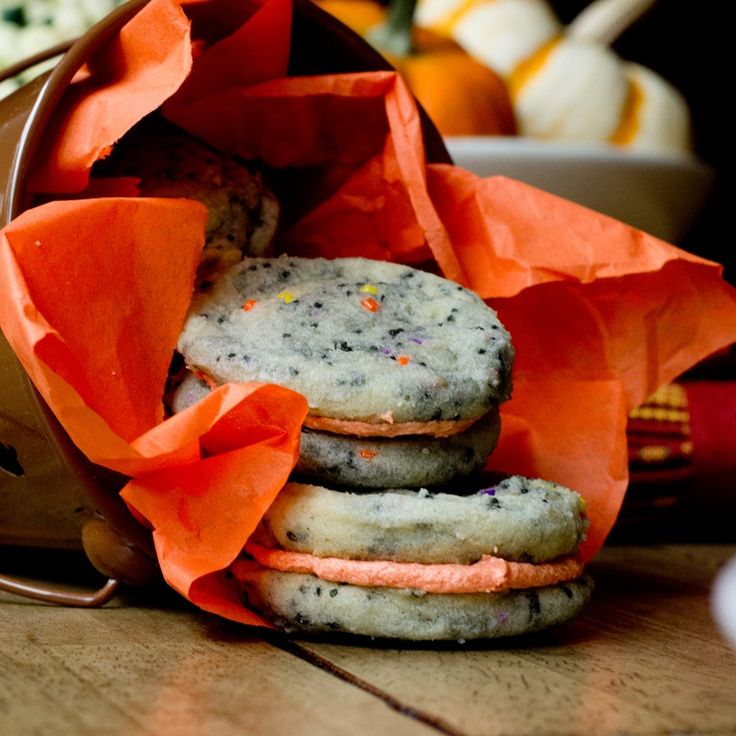 Mini Halloween Confetti Cookie Sandwiches (tweak colors for any holiday)