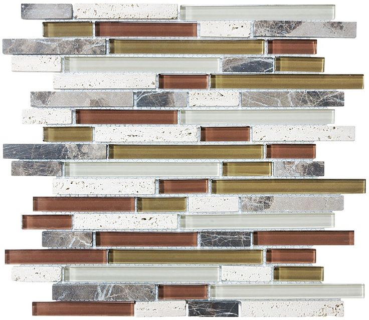 Bliss Cabernet Stone And Gl Linear Mosaic Tiles