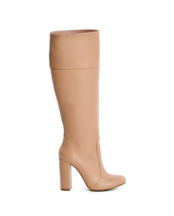 Cizme dama Long Boots Nude Piele Naturala