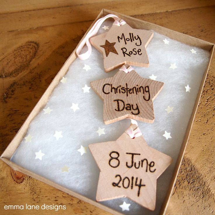 Personalised Wooden Christening Keepsake Gift | Emma Lane Designs. Features 3 stars personalised with the wording of your choice, and comes in a gift box. £11.50