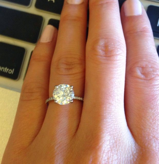 2 carat round solitary with dainty pavae' band - Wedding Ring Set & Engagement #weddingring #weddingrings #engagementring