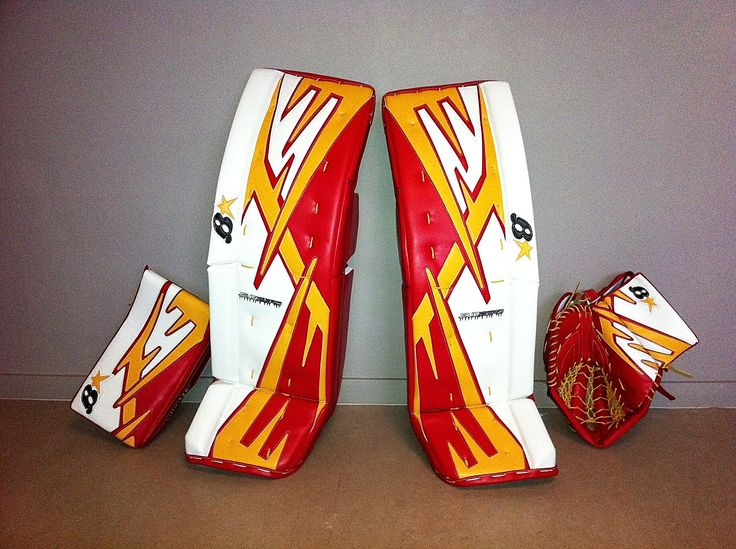 Custom Brian's Sub Zero goalie pads and gloves, straight out of the box! #icehockey #goalie