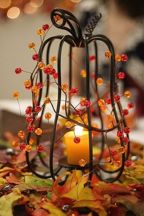 Fall Wedding Centerpieces with Candle