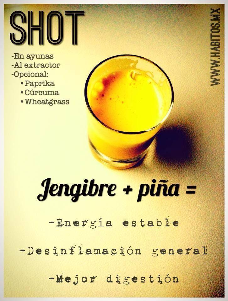 Shot de jengibre y piña: #hábitosmx #hábitos #salud #health