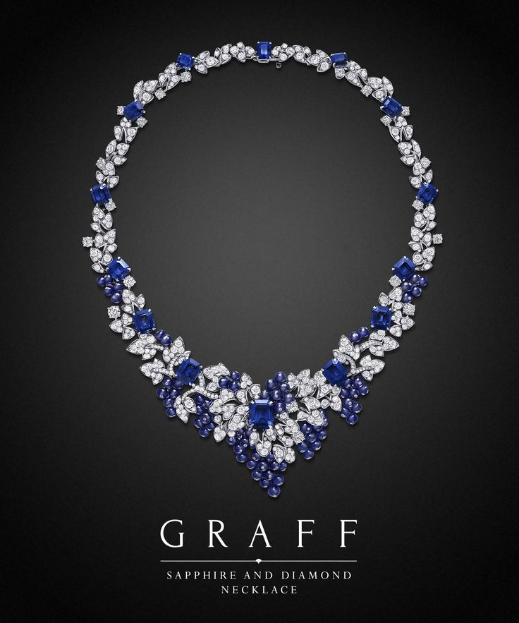 Depicting the beauty of nature in gemstone form, richly coloured clusters of sapphire beads entwine with pavé diamond leaves.