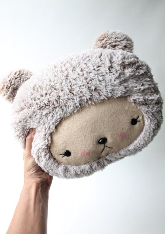 Plush Kawaii Teddy Bear Pillow in Cuddle Minky Faux Fur I want this!.....for my poodle Lily! She sleeps on her crabby pillow but would love this too!